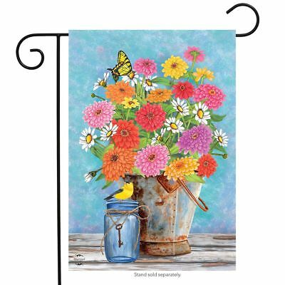 "Zinnias Spring Garden Flag Floral Bucket 12.5"" x 18"" Briarwood Lane"