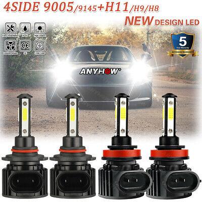 9005 H11 672000LM Combo 4-Side LED Headlight Kits High Low Beam Bulb 6000K White