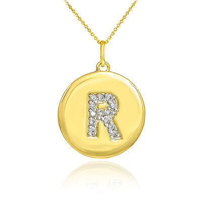"10k Yellow Gold Letter ""R"" Initial Diamond Disc Charm Pendant Necklace"