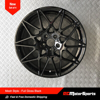 "19"" M4 M3 Mesh Style Wheels Gloss Black 8.5/9.5 for BMW 3 4 5 6 Sedan Coupe"