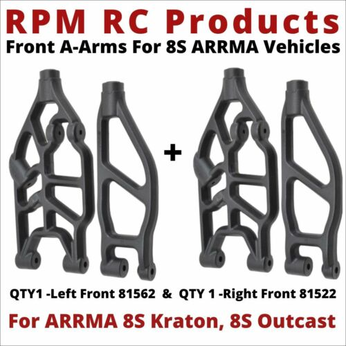 RPM Front Upper & Lower Suspension Arms ARRMA Kraton 8S Outcast 8S 81562 & 81522