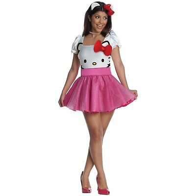Hello Kitty Costume Adult Womens Sexy Halloween Fancy Dress - Hello Kitty Adult Halloween Costume