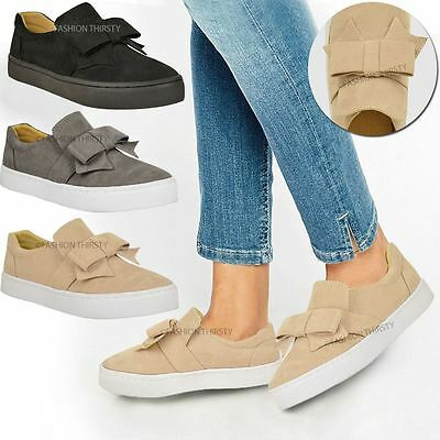Womens Ladies Flat Bow Detail Trainers Plimsolls Pumps Slip On Skate Shoes Size Bow Detail Pump