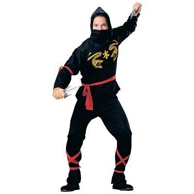Ninja Adult Costume Japanese Black Martial Arts Halloween Fancy Dress Outfit