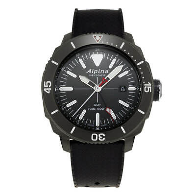 Alpina Seastrong SWISS Diver GMT Black Rubber Strap Men's Watch AL-247LGG4TV6