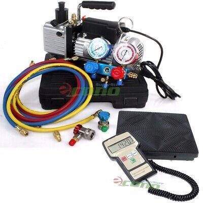 Hvac Ac Refrigerant Ac Kit Wvacuum Pump R134a R12 Manifold Gauge Set Scale