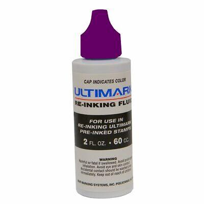 Ultimark Pre-inked Stamp Refill Ink, Violet, 2 Oz Drip Spout Bottle ()