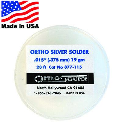 Orthosource Orthodontic Dental Silver Solder 14 M 23 Ft Roll .015 .375mm 19gm
