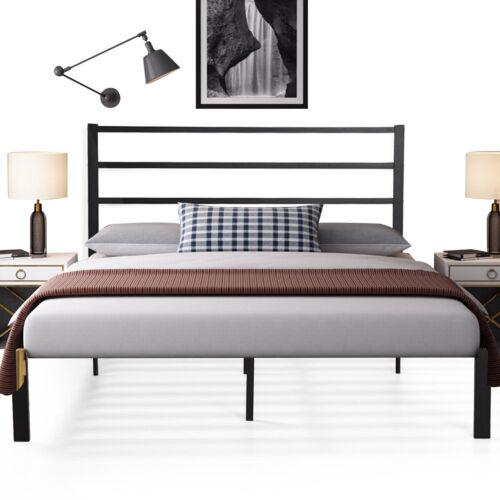 QUEEN Size Bed Frame Heavy Duty 9 Legs Metal Platform Headboard Black Wood Slats