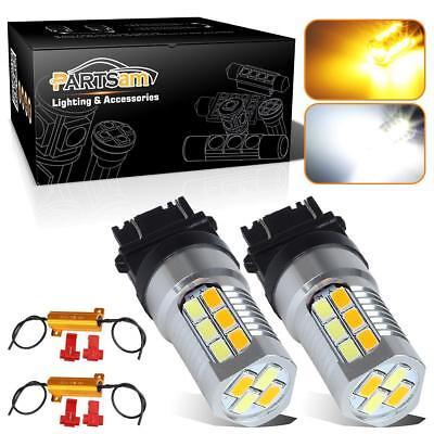 2x3157 3757 Switchback Amber White  High Power LED Turn Signal Light w/Resistors