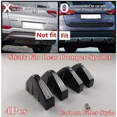 Universal 4Pc Car Rear Bumper Chin Spoiler Lip Wing Shark Fins Diffuser Splitter