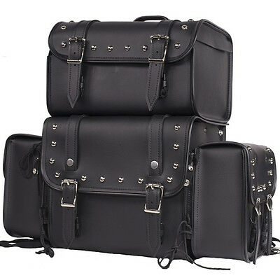 Sissy Bar Bag Motorcycle Luggage Travel Removable Side Bags Universal Fit Harley