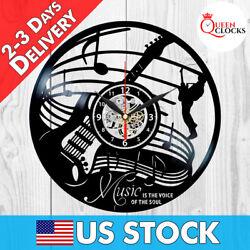 Music Jazz Rock Musician Instruments Guitar Notes Vinyl Record Wall Clock Gift