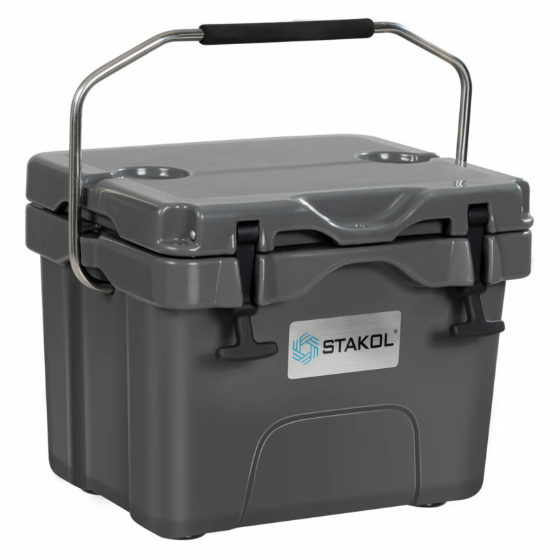 16 Quart Cooler Portable Ice Chest Leak-Proof 24 Cans Ice Box for Camping Grey