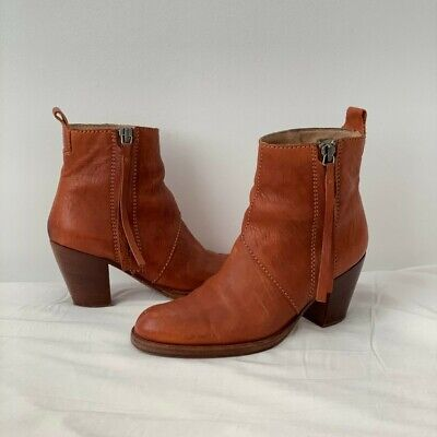 FAST 📦 ACNE Studios Pistol Boots Brown Leather Ankle Size Italy 39 - US 8.5/9