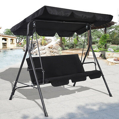 3 Person Swing Outdoor Patio Canopy Awning Yard Furniture Hammock Steel Black