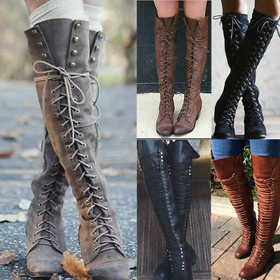 Womens Over the Knee Lace Up Bandage Thigh High Combat Low Heel Boots Flat