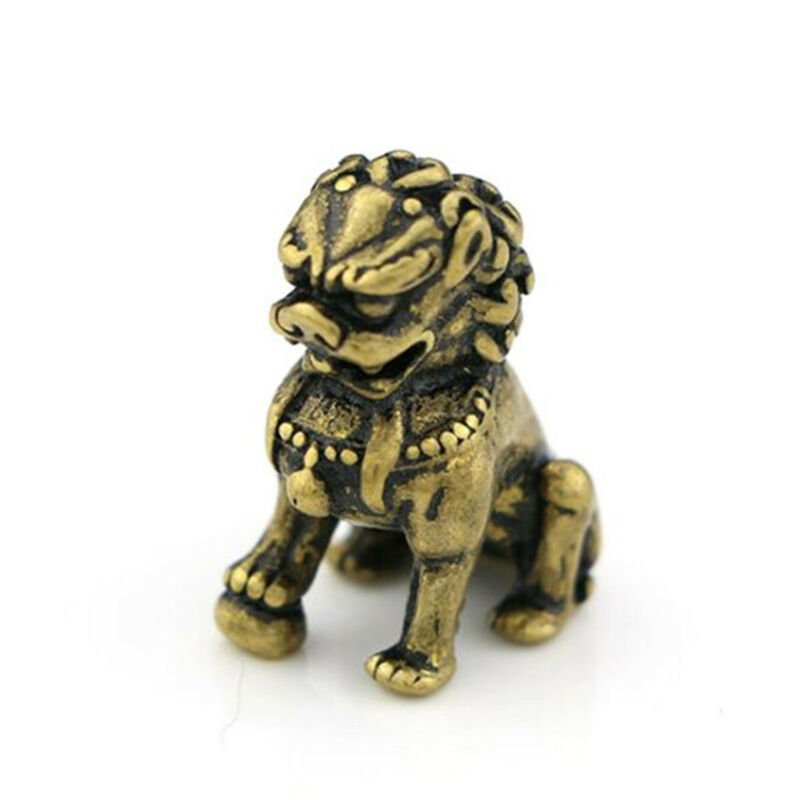 Chinese Mini Foo Dog Lion Play Ball Animal Beast Amulet Sculpture Home Decor