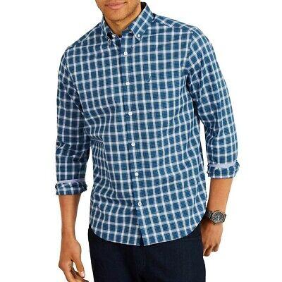 NAUTICA Men's Ensign Blue Classic Fit Plaid Stretch Button-Front Shirt 3XL TEDO