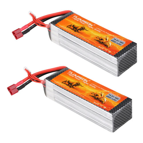 2X Floureon 4S 14.8V 4500mAh 45C LiPo Battery T Plug For RC