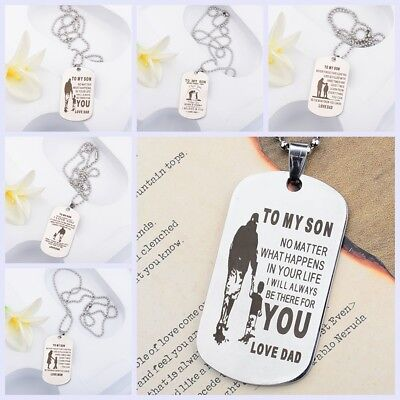 To My Son Dog Tag Personalized Mom Son Stainless Steel Pendant Men Necklaces (Dog Tag Necklaces)