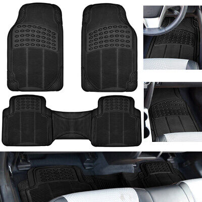 Car Floor Mats for Auto All Weather Rubber Liners Heavy Duty Fit Black 3pc (2006 Toyota Highlander Floor Mats All Weather)
