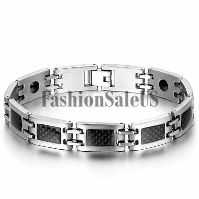 Men Silver Stainless Steel Black Carbon Fiber Magnet Charm Bracelet Bangle - Carbon Fiber Stainless Magnetic Bracelet