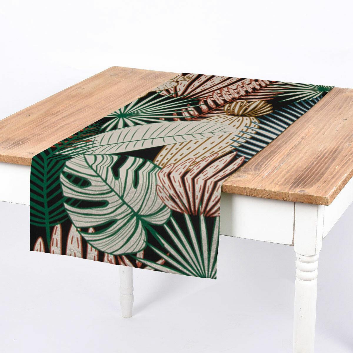 SCHÖNER LEBEN. Tischläufer Palmen Blätter Kaktus schwarz bunt 40x160cm