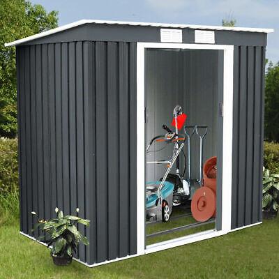 4'X7' Outdoor Garden Storage Shed Tool House Sliding Door Metal Dark Gray New