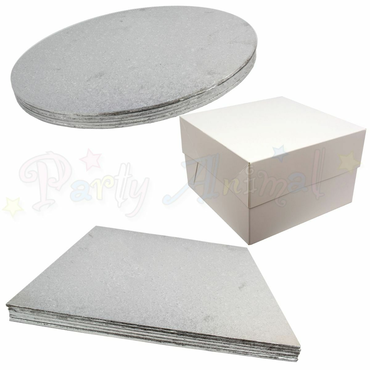 Pack of 5 - Hardboard Cake Boards and White Boxes - Quality Wedding & Sugarcraft