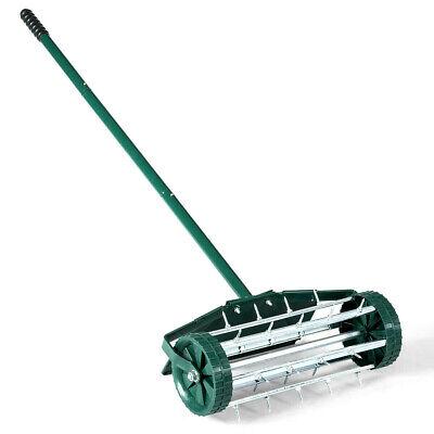 Rolling Lawn Aerator Heavy Duty Grass Cutter Roller Spike Garden Scarifier 18 In