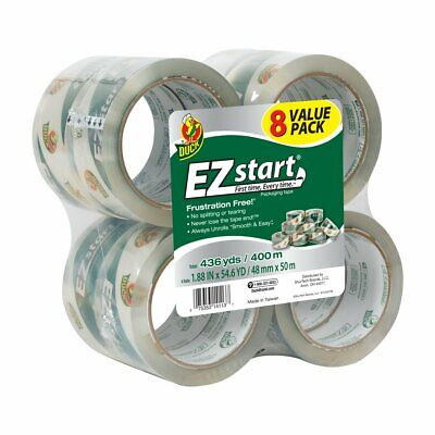 EZ START PACKAGING TAPE Duck Brand Shipping Packing Mailing Rolls Clear 8 PACK