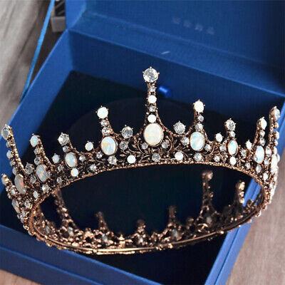 Baroque Bridal Jewelry Vintage Design Crystal Pearl Queen Crown Tiaras Headband