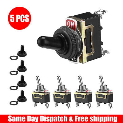 5pcs Toggle Switch Heavy Duty 20a 125v Spst 2 Terminal Onoff Car Waterproof Atv