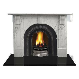 Evandale Arch Marble Mantle w/Square Return, White