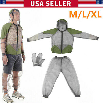Anti Mosquito Suit Mesh Bug Jacket Clothing Net Yarn Mitts Pants Gloves Suits US