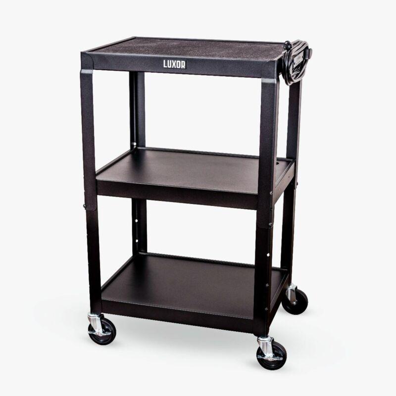 Luxor Adjustable Height Black Metal A/V Cart