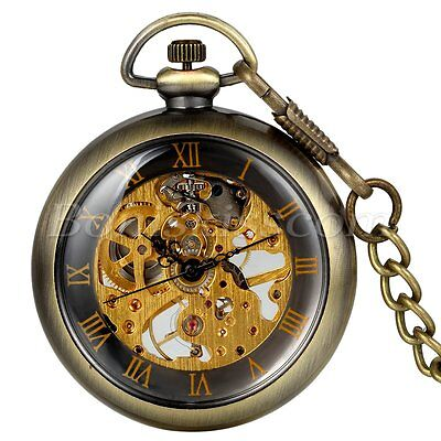 Vintage Antique Steampunk Transparent Hand-wind Mechanical Pocket Watch Necklace