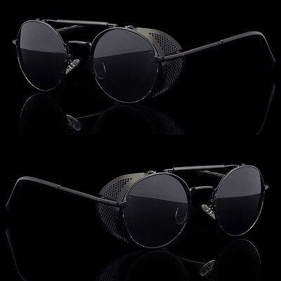 Round Shield Sunglasses - Black Vintage Retro Steampunk Gothic Side Shield Hipster Round Sunglasses b