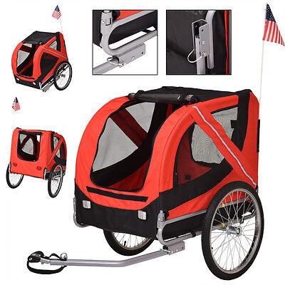 Folding Pet Bicycle Trailer Dog Cat Bike Carrier w/ Drawbar Hitch Red
