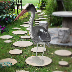 Large Plastic Resin Decoy Heron Garden Ornament Bird Scarer Fish Pond Koi Carp Ebay