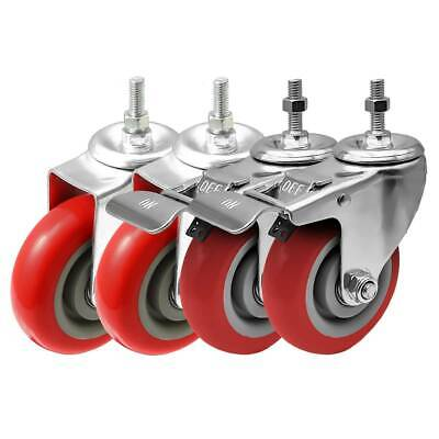4 Pack Combo 4 Stem Casters Red Pu Caster Wheels 2 No Brake 2 Front Brake