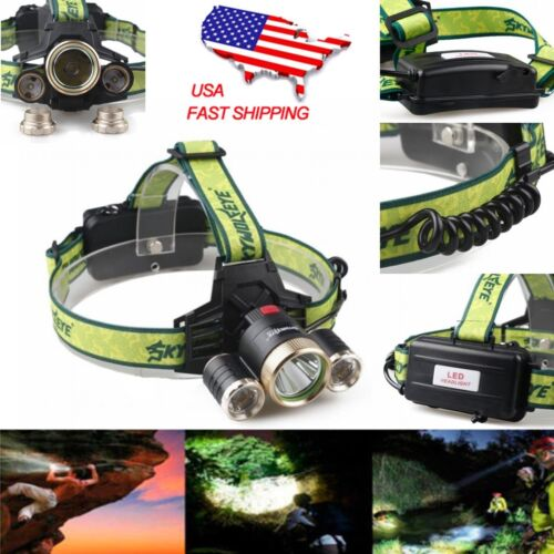 80000LM 3X T6 LED Headlamp Flashlight Head light Torch with 18650 Battery US