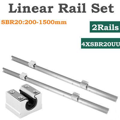 2pcs Sbr20 L200-1500mm Linear Rail Guide Shaft Rod 4pcs Sbr20uu Block Bearing