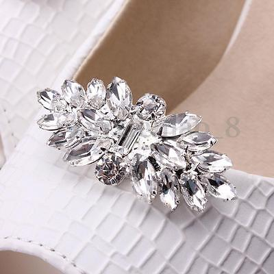 US 2PCS Crystal Rhinestone Silver Plated Shoe Clips Tone Boots Buckle Decoration