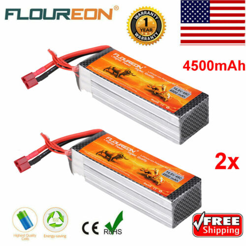 2x FLOUREON 4S 14.8V 45C 4500mAh Lipo RC Battery T Plug for