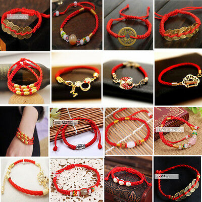 Fashion Chinese Feng Shui Red String Lucky Coin Adjustable Bracelet -