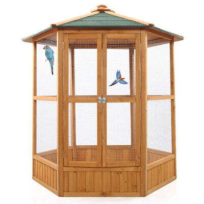 "64"" Wooden Aviary Hexagonal Flight House Cage Ideal for Birds Chipmunks Cat"