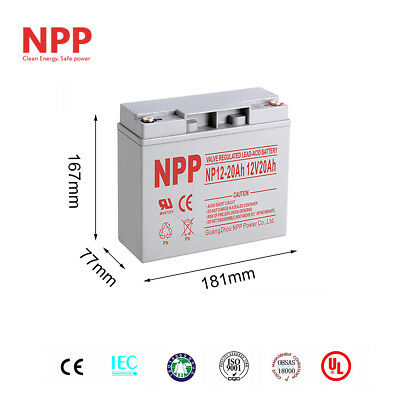NPP 12V 20Ah 12Volt 20 Amp Rechargeable Deep Cycle Long Life Lead Acid Battery