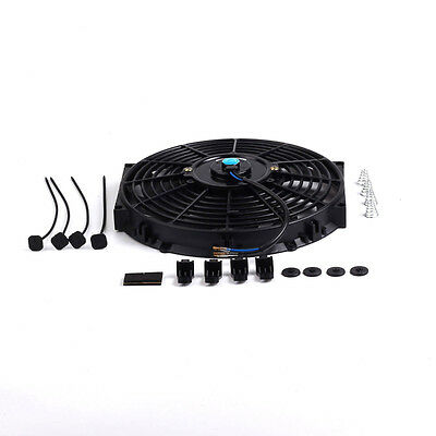 "Universal 10"" inch Slim Fan Push Pull Electric Radiator Cooling 12V Mount Kit BK"